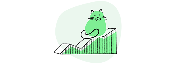 Loomly brand success platform brand content management analytics green cat illustration