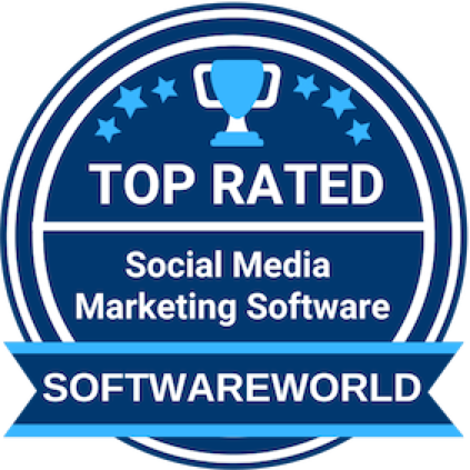Loomly brand success platform softwareworld top rate social media marketing software badge