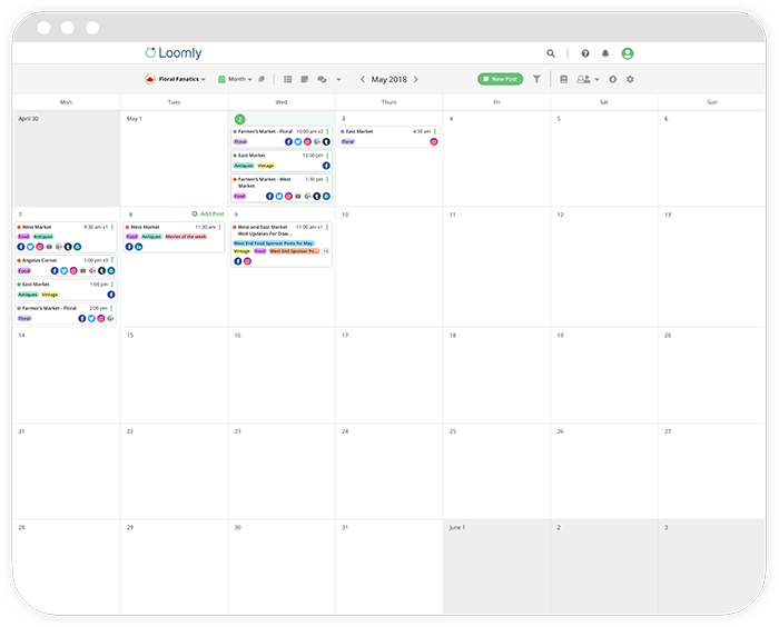 Loomly brand success platform calendar view screenshot
